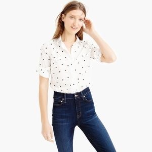 J. Crew The Perfect Shirt in Onyx Dot Sz 8 NWOT